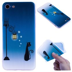 Street Light Cat 3D Relief Matte Soft TPU Back Cover for iPhone 8 / 7 (4.7 inch)