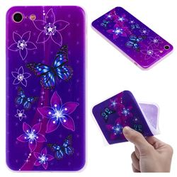 Butterfly Flowers 3D Relief Matte Soft TPU Back Cover for iPhone 8 / 7 (4.7 inch)