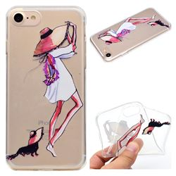 Pet Girl Super Clear Soft TPU Back Cover for iPhone 8 / 7 (4.7 inch)