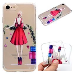 Christmas Girl Super Clear Soft TPU Back Cover for iPhone 8 / 7 (4.7 inch)