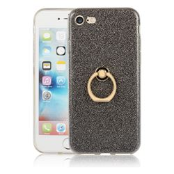 Luxury Soft TPU Glitter Back Ring Cover with 360 Rotate Finger Holder Buckle for iPhone 8 / 7 (4.7 inch) - Black