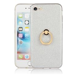 Luxury Soft TPU Glitter Back Ring Cover with 360 Rotate Finger Holder Buckle for iPhone 8 / 7 (4.7 inch) - White