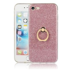 Luxury Soft TPU Glitter Back Ring Cover with 360 Rotate Finger Holder Buckle for iPhone 8 / 7 (4.7 inch) - Pink