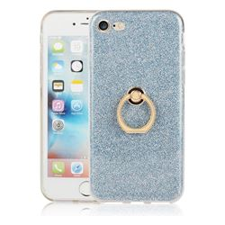 Luxury Soft TPU Glitter Back Ring Cover with 360 Rotate Finger Holder Buckle for iPhone 8 / 7 (4.7 inch) - Blue