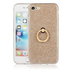 Luxury Soft TPU Glitter Back Ring Cover with 360 Rotate Finger Holder Buckle for iPhone 8 / 7 (4.7 inch) - Golden