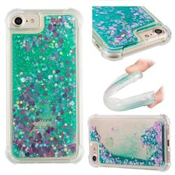 Dynamic Liquid Glitter Sand Quicksand TPU Case for iPhone 8 / 7 (4.7 inch) - Green Love Heart