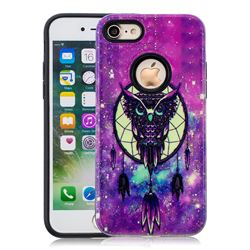 Starry Campanula Owl Pattern 2 in 1 PC + TPU Glossy Embossed Back Cover for iPhone 8 / 7 (4.7 inch)