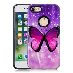 Glossy Butterfly Pattern 2 in 1 PC + TPU Glossy Embossed Back Cover for iPhone 8 / 7 (4.7 inch)