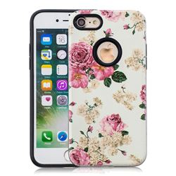 Rose Flower Pattern 2 in 1 PC + TPU Glossy Embossed Back Cover for iPhone 8 / 7 (4.7 inch)