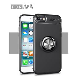 Auto Focus Invisible Ring Holder Soft Phone Case for iPhone 8 / 7 (4.7 inch) - Black
