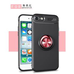 Auto Focus Invisible Ring Holder Soft Phone Case for iPhone 8 / 7 (4.7 inch) - Black Red