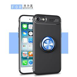 Auto Focus Invisible Ring Holder Soft Phone Case for iPhone 8 / 7 (4.7 inch) - Black Blue