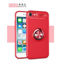 Auto Focus Invisible Ring Holder Soft Phone Case for iPhone 8 / 7 (4.7 inch) - Red