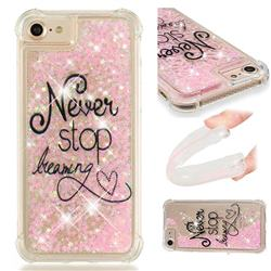 Never Stop Dreaming Dynamic Liquid Glitter Sand Quicksand Star TPU Case for iPhone 8 / 7 (4.7 inch)
