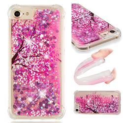 Pink Cherry Blossom Dynamic Liquid Glitter Sand Quicksand Star TPU Case for iPhone 8 / 7 (4.7 inch)
