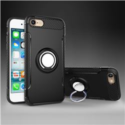 Armor Anti Drop Carbon PC + Silicon Invisible Ring Holder Phone Case for iPhone 8 / 7 (4.7 inch) - Black