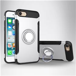 Armor Anti Drop Carbon PC + Silicon Invisible Ring Holder Phone Case for iPhone 8 / 7 (4.7 inch) - Silver