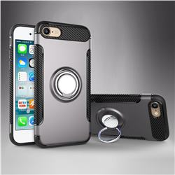 Armor Anti Drop Carbon PC + Silicon Invisible Ring Holder Phone Case for iPhone 8 / 7 (4.7 inch) - Grey