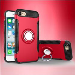Armor Anti Drop Carbon PC + Silicon Invisible Ring Holder Phone Case for iPhone 8 / 7 (4.7 inch) - Red