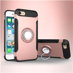 Armor Anti Drop Carbon PC + Silicon Invisible Ring Holder Phone Case for iPhone 8 / 7 (4.7 inch) - Rose Gold