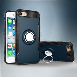 Armor Anti Drop Carbon PC + Silicon Invisible Ring Holder Phone Case for iPhone 8 / 7 (4.7 inch) - Navy