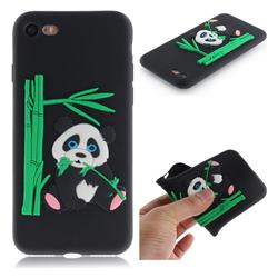 Panda Eating Bamboo Soft 3D Silicone Case for iPhone 8 / 7 (4.7 inch) - Black