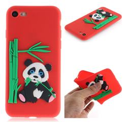 Panda Eating Bamboo Soft 3D Silicone Case for iPhone 8 / 7 (4.7 inch) - Red