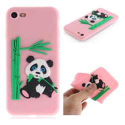 Panda Eating Bamboo Soft 3D Silicone Case for iPhone 8 / 7 (4.7 inch) - Pink