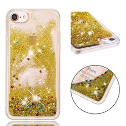 Dynamic Liquid Glitter Quicksand Sequins TPU Phone Case for iPhone 8 / 7 (4.7 inch) - Golden