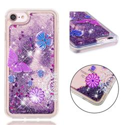 Purple Flower Butterfly Dynamic Liquid Glitter Quicksand Soft TPU Case for iPhone 8 / 7 (4.7 inch)