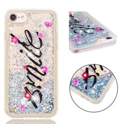 Smile Flower Dynamic Liquid Glitter Quicksand Soft TPU Case for iPhone 8 / 7 (4.7 inch)