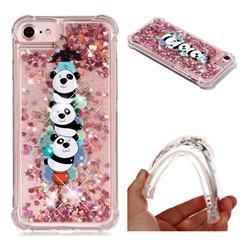 Three Pandas Dynamic Liquid Glitter Sand Quicksand Star TPU Case for iPhone 8 / 7 (4.7 inch)