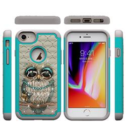 Sweet Gray Owl Studded Rhinestone Bling Diamond Shock Absorbing Hybrid Defender Rugged Phone Case Cover for iPhone 8 / 7 (4.7 inch)
