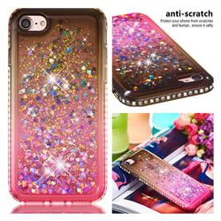 Diamond Frame Liquid Glitter Quicksand Sequins Phone Case for iPhone 8 / 7 (4.7 inch) - Gray Pink