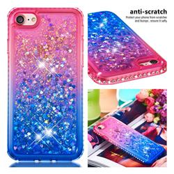 Diamond Frame Liquid Glitter Quicksand Sequins Phone Case for iPhone 8 / 7 (4.7 inch) - Pink Blue