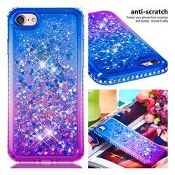 Diamond Frame Liquid Glitter Quicksand Sequins Phone Case for iPhone 8 / 7 (4.7 inch) - Blue Purple