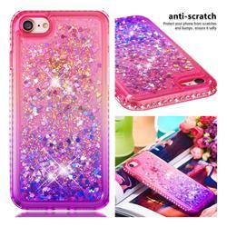 Diamond Frame Liquid Glitter Quicksand Sequins Phone Case for iPhone 8 / 7 (4.7 inch) - Pink Purple