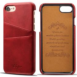 Suteni Retro Classic Card Slots Calf Leather Coated Back Cover for iPhone 8 / 7 (4.7 inch) - Red