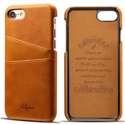Suteni Retro Classic Card Slots Calf Leather Coated Back Cover for iPhone 8 / 7 (4.7 inch) - Khaki