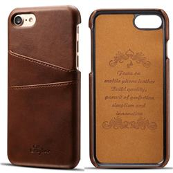 Suteni Retro Classic Card Slots Calf Leather Coated Back Cover for iPhone 8 / 7 (4.7 inch) - Brown