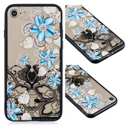 Lilac Lace Diamond Flower Soft TPU Back Cover for iPhone 8 / 7 (4.7 inch)