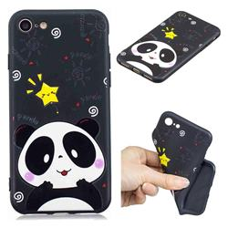 Cute Bear 3D Embossed Relief Black TPU Cell Phone Back Cover for iPhone 8 / 7 (4.7 inch)
