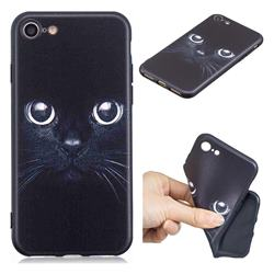 Bearded Feline 3D Embossed Relief Black TPU Cell Phone Back Cover for iPhone 8 / 7 (4.7 inch)
