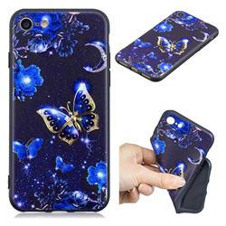 Phnom Penh Butterfly 3D Embossed Relief Black TPU Cell Phone Back Cover for iPhone 8 / 7 (4.7 inch)