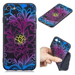 Colorful Lace 3D Embossed Relief Black TPU Cell Phone Back Cover for iPhone 8 / 7 (4.7 inch)