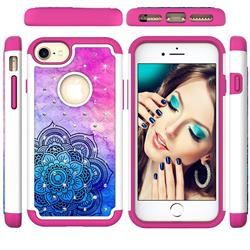 Colored Mandala Studded Rhinestone Bling Diamond Shock Absorbing Hybrid Defender Rugged Phone Case Cover for iPhone 8 / 7 (4.7 inch)