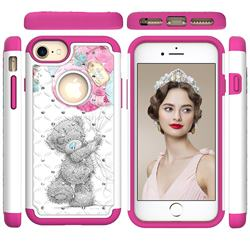 Gray Bear Studded Rhinestone Bling Diamond Shock Absorbing Hybrid Defender Rugged Phone Case Cover for iPhone 8 / 7 (4.7 inch)