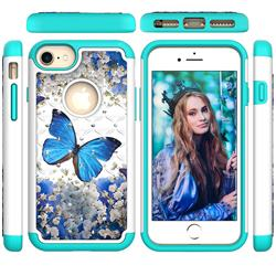 Flower Butterfly Studded Rhinestone Bling Diamond Shock Absorbing Hybrid Defender Rugged Phone Case Cover for iPhone 8 / 7 (4.7 inch)