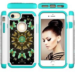 Golden Butterflies Studded Rhinestone Bling Diamond Shock Absorbing Hybrid Defender Rugged Phone Case Cover for iPhone 8 / 7 (4.7 inch)