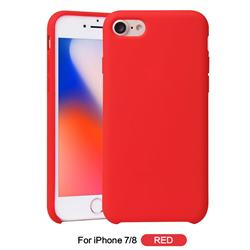 Howmak Slim Liquid Silicone Rubber Shockproof Phone Case Cover for iPhone 8 / 7 (4.7 inch) - Red